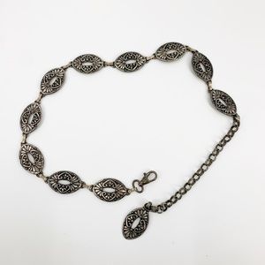 Vintage Silver Metal Chunky Chain Belt 28-36""